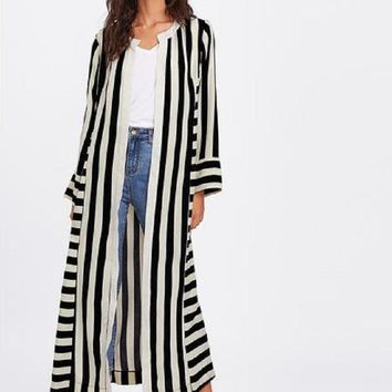 Bella Black and White Stripe Side Slit Kimono