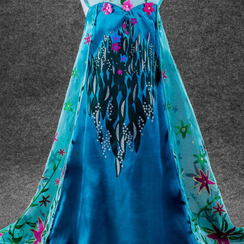 Snow Queen Frozen Fever Princess Elsa Dress Girls Halloween Costume