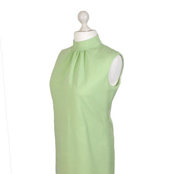 Lime Green Vintage Mini Dress | 1970's 70's Dress | Hardob Diolen Loft | Size UK 16/18