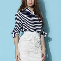 Laidback V-neck Chiffon Top in Stripes Multi S/M