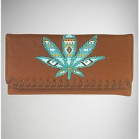 Appliqued Leaf Checkbook Wallet - Spencer's
