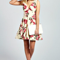Rose Floral Deep V Neck Skater Dress