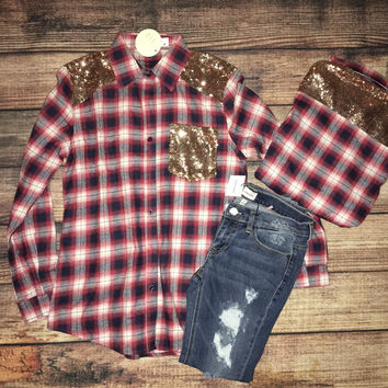 Sequin & Plaid Top