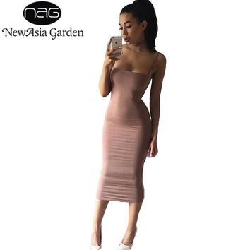 NewAsia Garden Strapyy Double Layered Cotton Bodycon Midi Dress Summer Basic Tank Sheath Club Sexy Party Long Dresses Vestidos