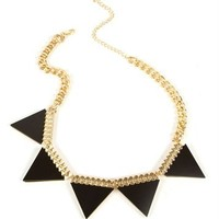 Black/Gold Triangle Pyramid Neckalce