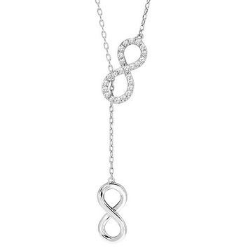 10K White Gold Diamond Infinity Lariat Necklace