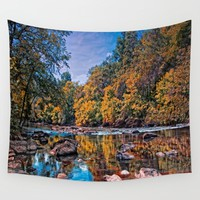 Autumn River Wall Tapestry by Scott Hervieux | Society6