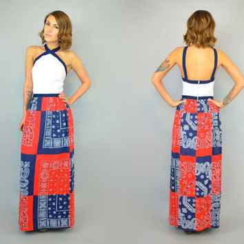 vtg 70s BANDANA PATCHWORK Halter boho hippie american flag western gauze MAXI dress, small-medium