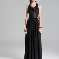Rebecca Taylor Dress - Leather Paneled Maxi with Cutouts | Bloomingdale's
