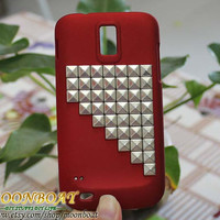 Silvery Studs And Red Hard Case For Tmobile Samsung by moonboat