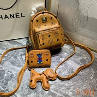 HCXX 19Aug 477 MCM Mini Fashion Classic Leather Backpack Three-piece suit