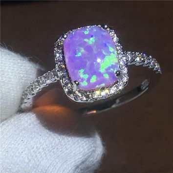 Anniversary ring Pink AAA Opal Cz White Gold Filled Party wedding band rings for women Men Jewelry Gift