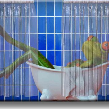 Frog Taking a Bath Bathroom Picture on Acrylic , Wall Art decor, Ready to Hang!