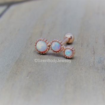 "Opal helix cluster 16g white opals trio rose gold ball back earring 5/16"" conch stud"