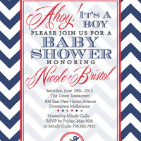 Blue Chevron Nautical Beach Boy Baby Shower Invitation- Ahoy! It's a Boy!
