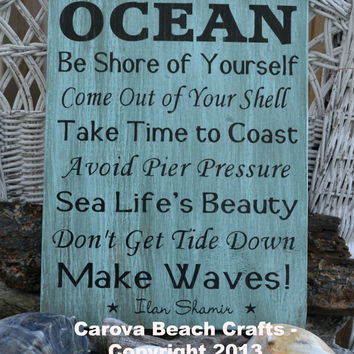 Advice From The Ocean Sign, Beach Decor Wood Sign, Beach Decor, Ocean, Hand Painted, Coastal, Nautical Poem