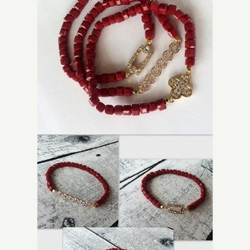 Mothers Day ON SALE Red Bracelets, Beaded Bracelets, Crystal Bracelets, Triple Bracelets, Crystal Cube Bracelets, Rhinestone Bracelets,  Ela