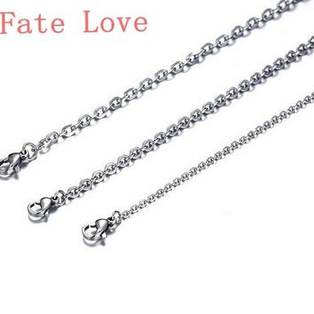Fate Love Lot 100pcs wholesale price Silver Strong Oval Link Chain Necklace Stainless steel Jewlery Thin 1.5mm 18 inches