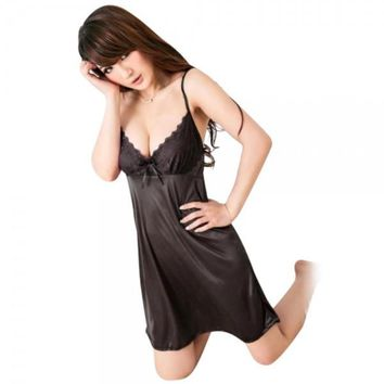 Sexy Satin Strapless Sling Nightgown Skirt Black