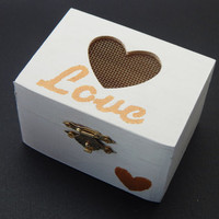 LOVE wedding ring box, wooden ring bearer box, white and gold rustic ring box, wedding ring holder
