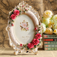 Classical Pastoral Style White and Pink Photo Frame Embossed with Red Rose for Home Decor
