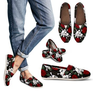 Black Roses and Skulls Casual Shoe