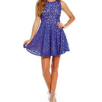 Jodi Kristopher Two-Tone Lace A-line Dress | Dillards