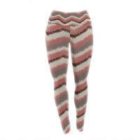 "Heidi Jennings ""Fuzzy Chevron"" Red Brown Yoga Leggings"