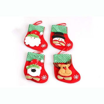 3PCS  Christmas Stockings Christmas Scene Home Decorations Mini Socks B851