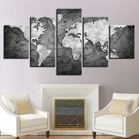 World Map Currency Money Wall Art Panel Print on Canvas Home Wall Decor