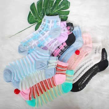 Lionzone Lace Transparent Crystal Lady Socks Muti Style 11Colors Stripe Square Lace Design With Patterned Silk Socks