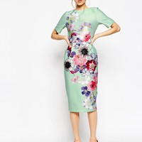 ASOS Textured Wiggle Dress In Placement Floral Print