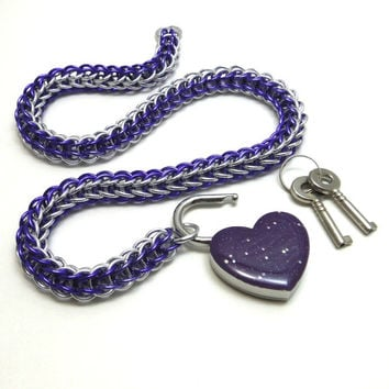 Chainmail Slave Collar Purple and Silver with Sparkly Violet Heart Shaped Padlock
