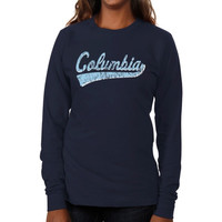 Columbia University Lions Ladies All-American Secondary Long Sleeve Slim Fit T-Shirt - Navy Blue