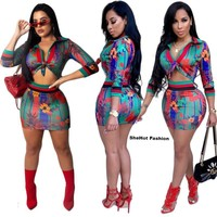 Women Sexy Two Piece Autumn Printed Long Sleeve Crop Top Mini Skirt Set
