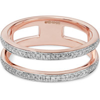 Monica Vinader - Skinny Double Band rose gold-plated diamond ring