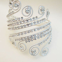Grecian Inspired Upper Arm Band Boho Arm Bracelet Cuff Egyptian Bridal Rhinestone Armlet slave  Wedding Bracelet Jewellry