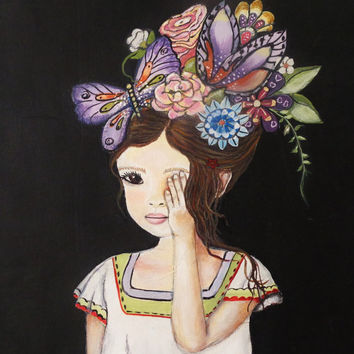 Girl with Flowers- Painting on Canvas- Mixed Media Art- Girls Room Decor- 16X20 inches