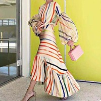 Fashionable sexy dress striped bright dress