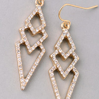 Rhinestone Cascading Geometic Layers Drop Earrings - Gold