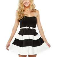 Papaya Clothing Online :: STRIPE BELTED FRILL DRESSY DRESS