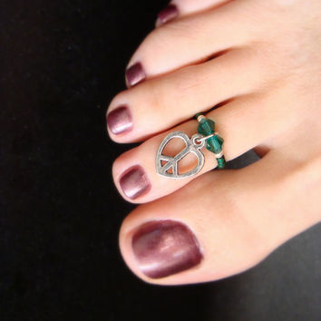 Toe Ring - Peace Heart - Heart Charm - Emerald Crystals - Stretch Bead Toe Ring