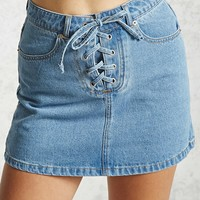 Lace-Up Denim Mini Skirt