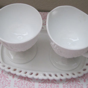 Vintage/White White Milk Glass/Set/Sugar And Cream Holders/Tray/Grape Pattern/1950's/Mid-Century/Housewares/Serving Pieces/Home Decor