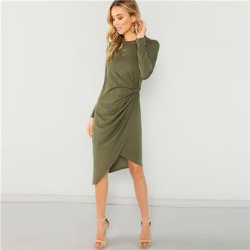 Olive Green Asymmetric Draped Long Sleeve Wrap Dress