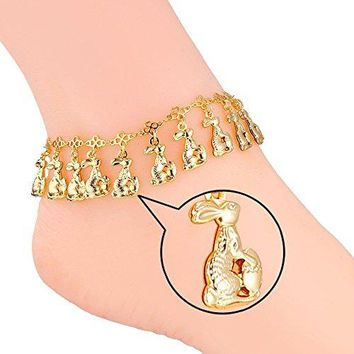 AUGUAU U7 Bunny Rabbit Charm Girls Fashion Foot Accessories 18K Gold Plated Chain Ankle Bracelet Anklets