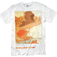 Orange Topographic Map Tshirt