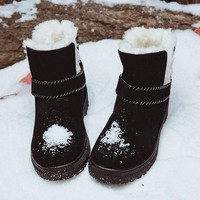HENGSONG Fashion Snow Winter Women Boots warm Snow Boots Women Ankle Boots Heels fashion platform shoes Winter Shoes RD642628