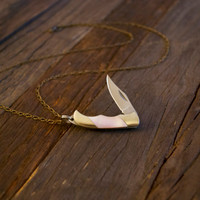 Miniature Pocket Knife Necklace- Pink Mother of Pearl