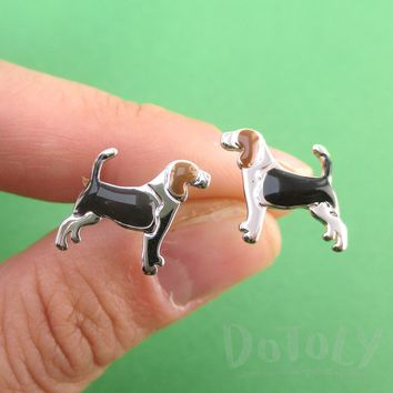 Beagle Dog Shaped Stud Earrings for Dog Lovers in Silver